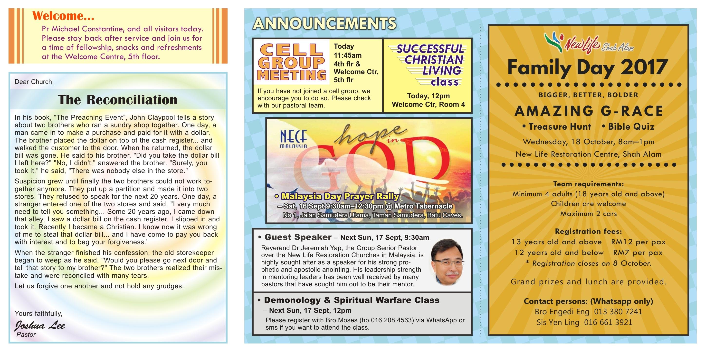 New Life Restoration Centre Shah Alam Bulletin 10th September 2017