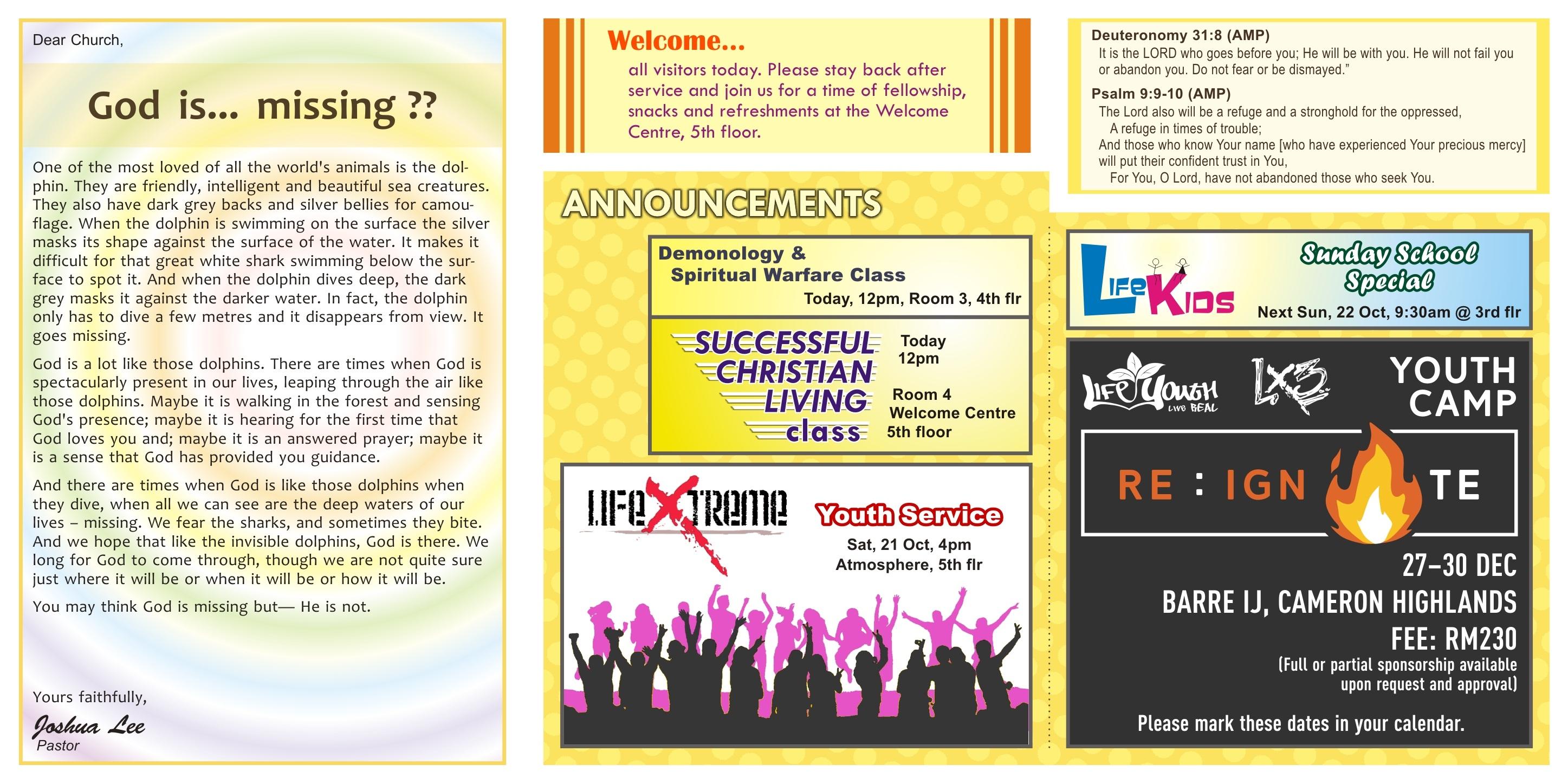 New Life Restoration Centre Shah Alam Bulletin 15th October 2017