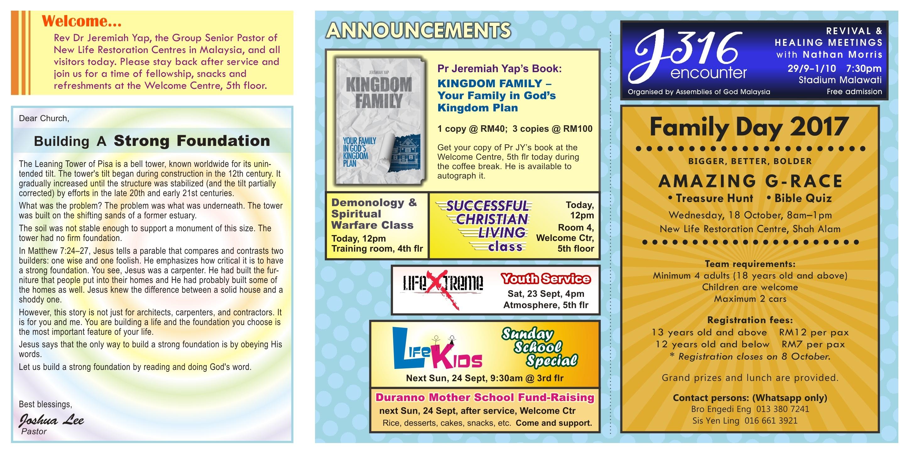 New Life Restoration Centre Shah Alam Bulletin 17th September 2017