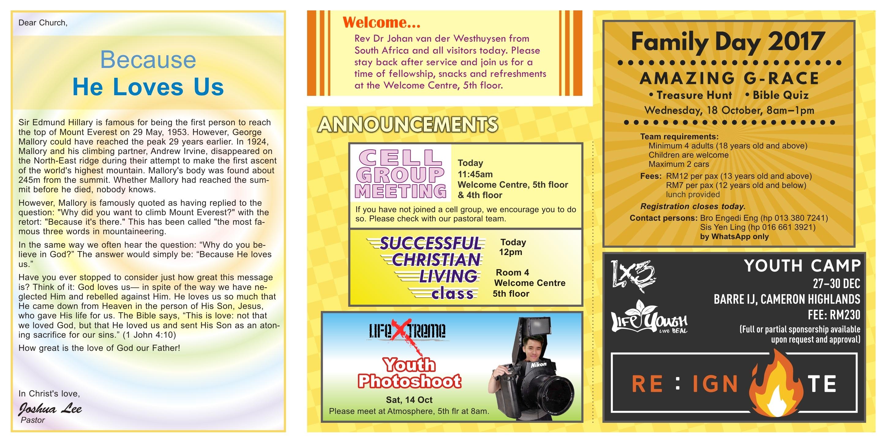 New Life Restoration Centre Shah Alam Bulletin 8th October 2017